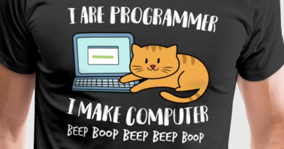 i are programmer computer funny cat beep boop by swayshirt spreadshirt