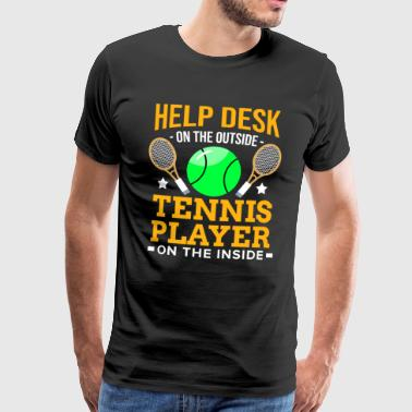 Admin tennisspelare Racket Ball Match Court Help Desk - Premium-T-shirt herr