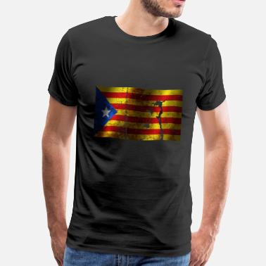 Catalonia Independence Flag Catalonia flag cool vintage used sport style - Men's Premium T-Shirt