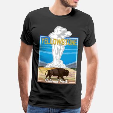 National Vintage Yellowstone National Park Bison Geyser - Men's Premium T-Shirt