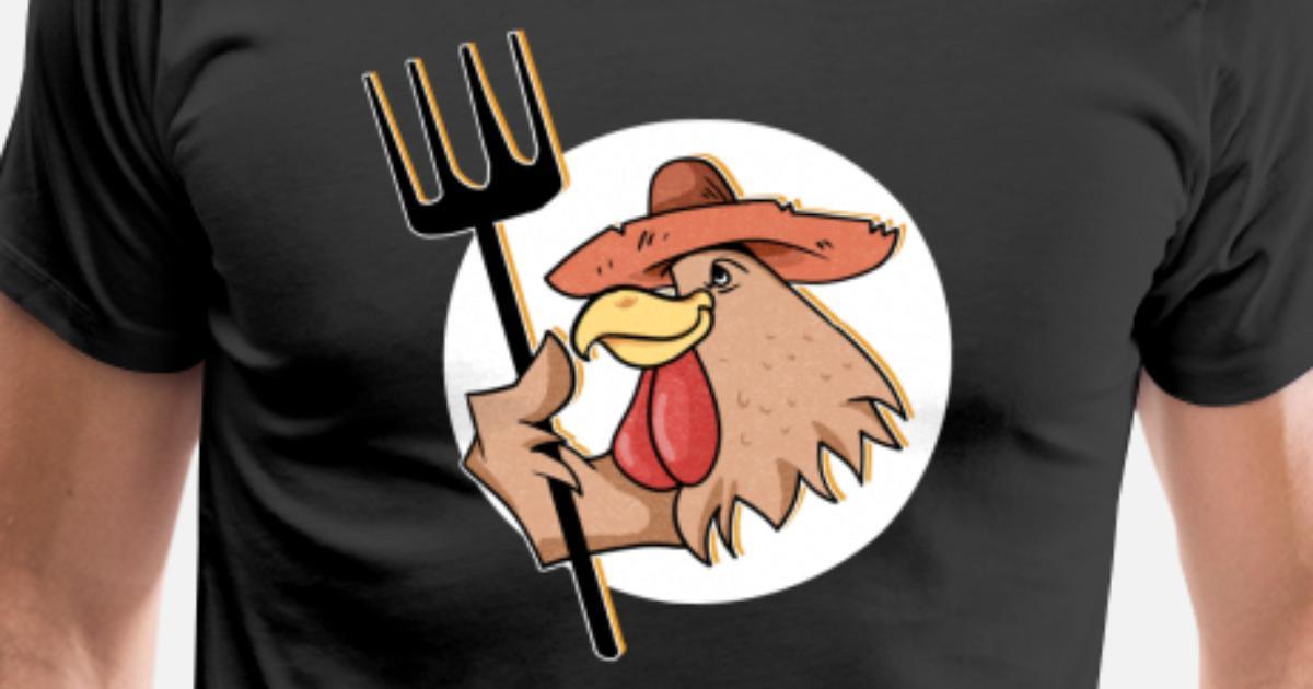 Sombrero de comic rooster circle pitchfork idea de regalo farm camiseta  premium hombre acbbd e a jpg 7384c5d6188