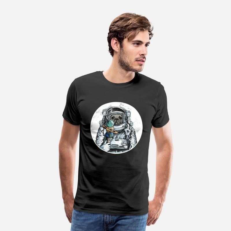 Dog Owner T-Shirts - Dog Astronaut French Bulldog Planet Ice Space - Men's Premium T-Shirt black