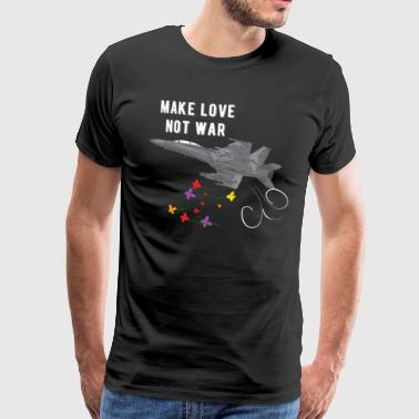 Bomb Squad Make love not was fighter jet bombing flowers - Men's Premium T-Shirt