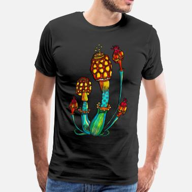 Psychedelic Uv Zauber Pilze, Magic Mushrooms, Psychedelic, Goa - Männer Premium T-Shirt