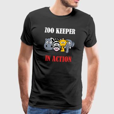 Zoo Keeper in Action (Animal Keeper) - Men's Premium T-Shirt
