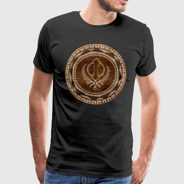 Khanda symbol on wooden texture - Men's Premium T-Shirt