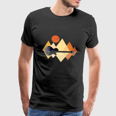 Guitar mountains sun - Men's Premium T-Shirt