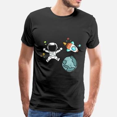 Atlas Astronaut earth globe in space - Men's Premium T-Shirt