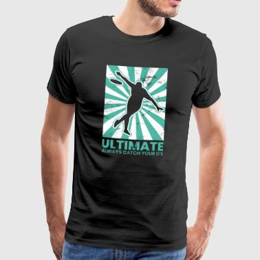 Ultimate Frisbee Catch Your D's Silhouette Vintage - Miesten premium t-paita