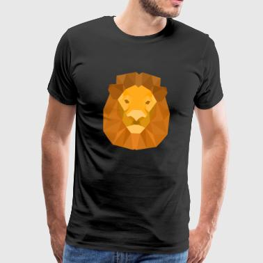 Lion Geometry Animal Geometric Abstract - Mannen Premium T-shirt