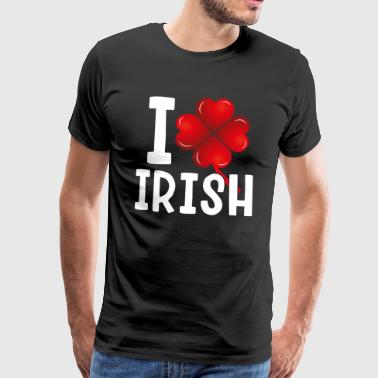 I LOVE IRISH - Ireland Leprechaun Lucky Party Heart - Men's Premium T-Shirt