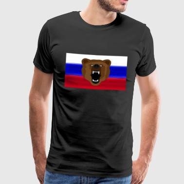 Ours russe / Russie / Россия, Rossia, drapeau - T-shirt Premium Homme