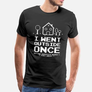 Computer I Went Outside Gaming Nerd Funny - Men's Premium T-Shirt