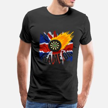 Target Darts Game on fireball - Men's Premium T-Shirt