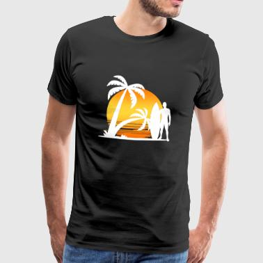 Summer Palm trees and surfer - Men's Premium T-Shirt