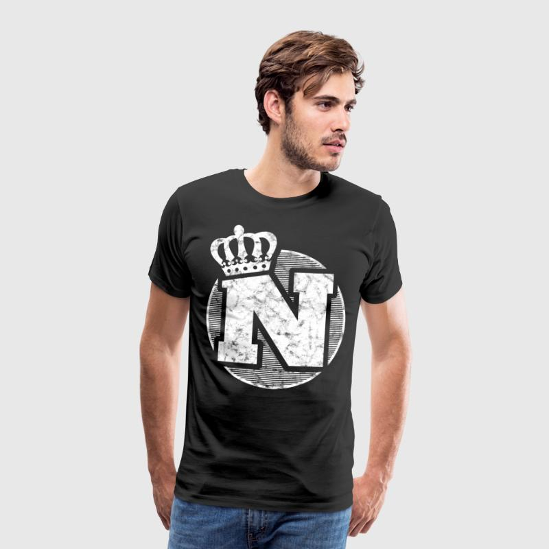 Stylish letter N with crown - Men's Premium T-Shirt