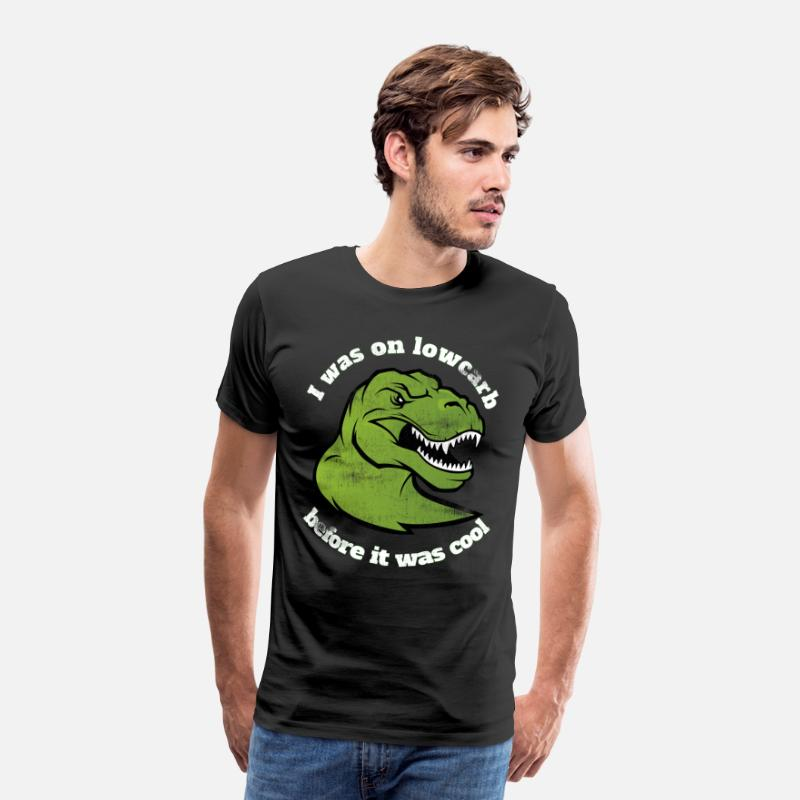 Gift Idea T-Shirts - dino lowcarb dinosaur meat gift diet - Men's Premium T-Shirt black