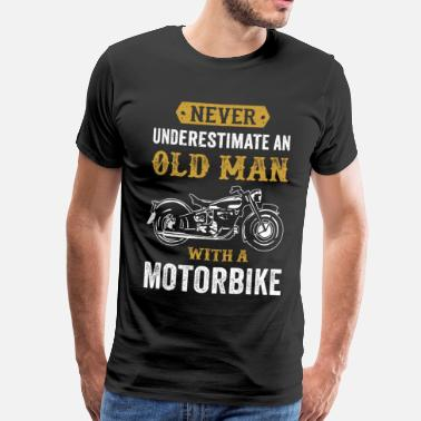 Vintage Motorcycle Old man motorcycle funny biker gift - Men's Premium T-Shirt