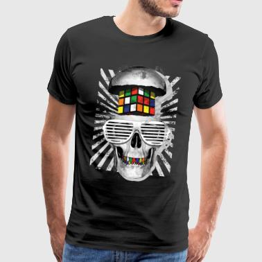 Rubik's Cube Skull With Sunglasses - Herre premium T-shirt