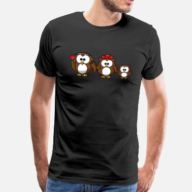 Red Rose Romantic owls family with red rose gift - Men's Premium T-Shirt