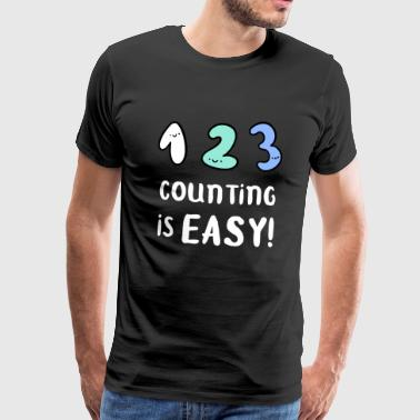 Counting School Schoolchild Learning Funny - Premium T-skjorte for menn