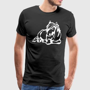 Sleeping comic cartoon paard - Mannen Premium T-shirt