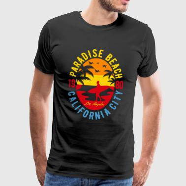 Beach Surfing Vacation Summer 1980 California - Men's Premium T-Shirt