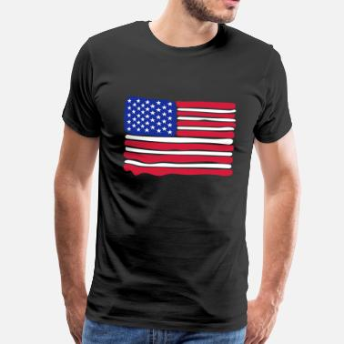 Stars And Stripes American Flag 3 colours paint - Men's Premium T-Shirt