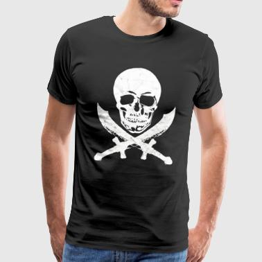 Skull pirate saber buccaneer pirate flag - Men's Premium T-Shirt
