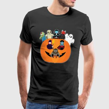 Halloween monster gather in pumpkin - Men's Premium T-Shirt