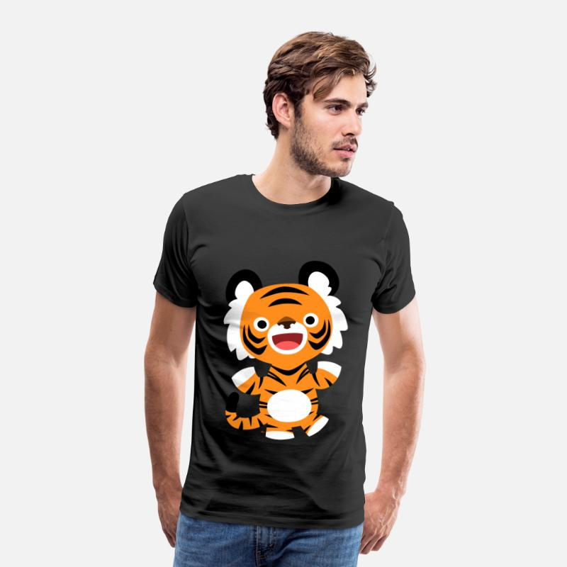 2010 T-Shirts - Cute Merry Cartoon Tiger by Cheerful Madness!! - Men's Premium T-Shirt black