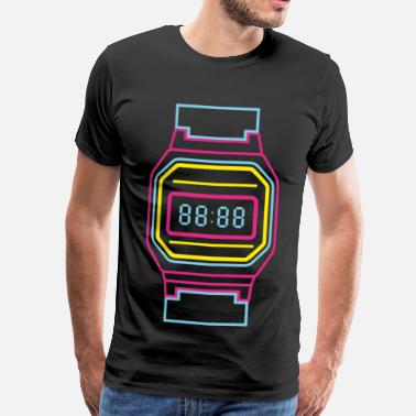 Digital Digital clock in neon colors 80s - Men's Premium T-Shirt