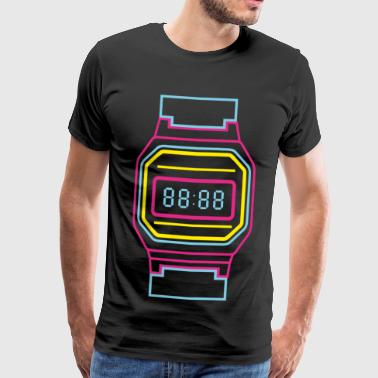 Digital clock in neon colors 80s - Men's Premium T-Shirt