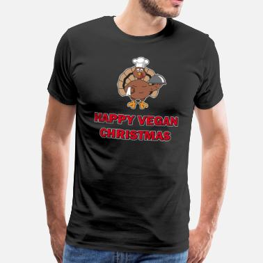 Pilgrim Funny Happy Vegan Noel Christmas Turkey Chef Gift - Men's Premium T-Shirt