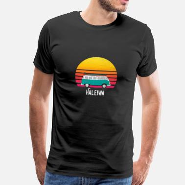 Hawaii Haleiwa Hawaii Retro Sunset Surfing Hippie Van Art Travel - Herre premium T-shirt