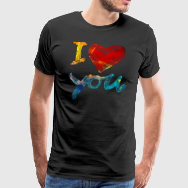 I LOVE YOU, Birthday, Valentine's Day, Romance - Men's Premium T-Shirt