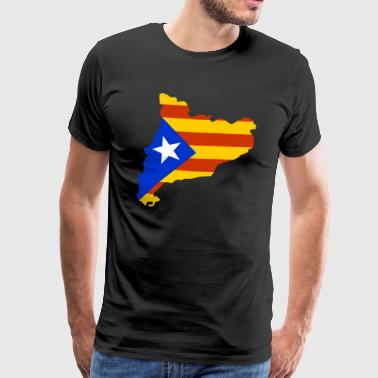 Catalonia map with flag - Men's Premium T-Shirt