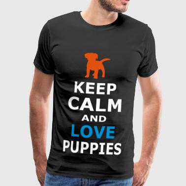 KEEP CALM AND LOVE PUPPIES - Men's Premium T-Shirt