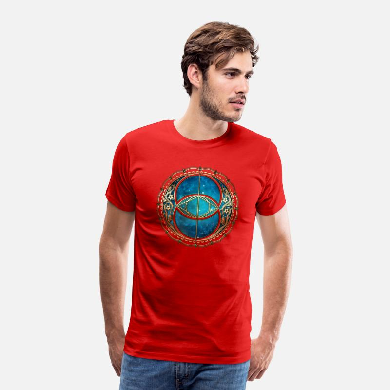 07c86605512 Vesica Piscis, Chalice Well, Avalon, Galaxy, Space Mannen Premium T-shirt -  rood