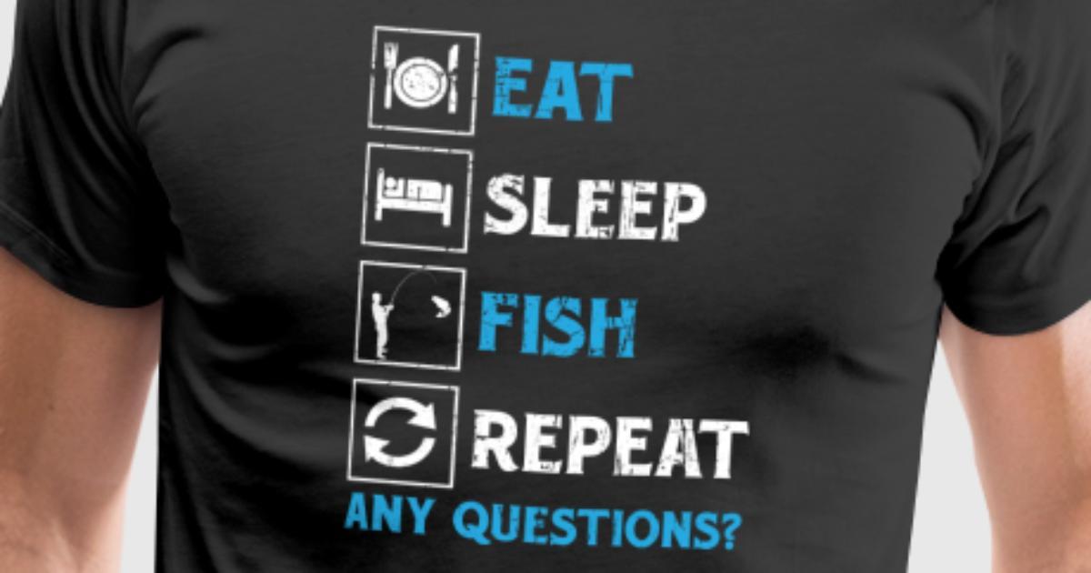 Eat Sleep Carpe répéter Femmes T-Shirt Drôle Pêche Pêcheur Cadeau col