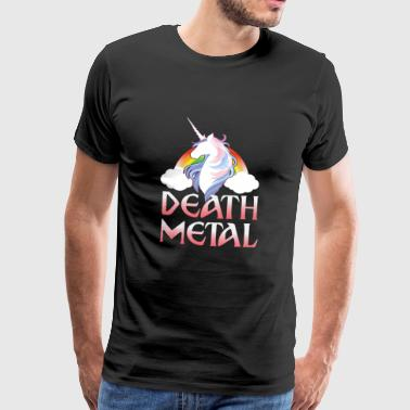 Death Metal - magical rainbow unicorn - Miesten premium t-paita