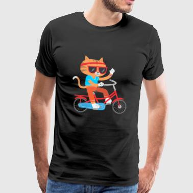 Dirt Mountain Bike CAT ON BICYCLE FUNNY GIFT KIDS IDEA - Men's Premium T-Shirt