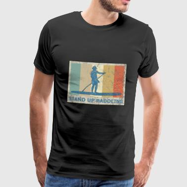 Retro Vintage Style Stand Up Paddling Paddle - Men's Premium T-Shirt