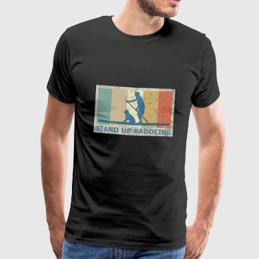 Retro Vintage Style Stand Up Paddling Paddle - Mannen Premium T-shirt