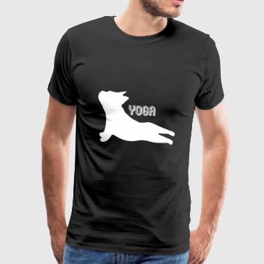 Cool Yoga Bulldog Puppy Silhouette doing Yoga - Men's Premium T-Shirt