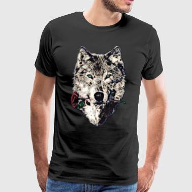 Wolf, wolves, animal, wild, blue eyes, rose - Koszulka męska Premium