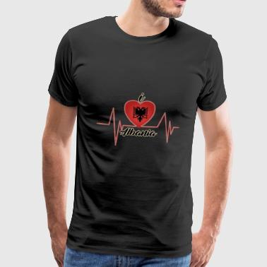I love ALBANIA (Heartbeat) - Men's Premium T-Shirt