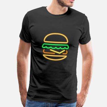 Burger Neon Burger - 80s Retro Neon Sign - Men's Premium T-Shirt