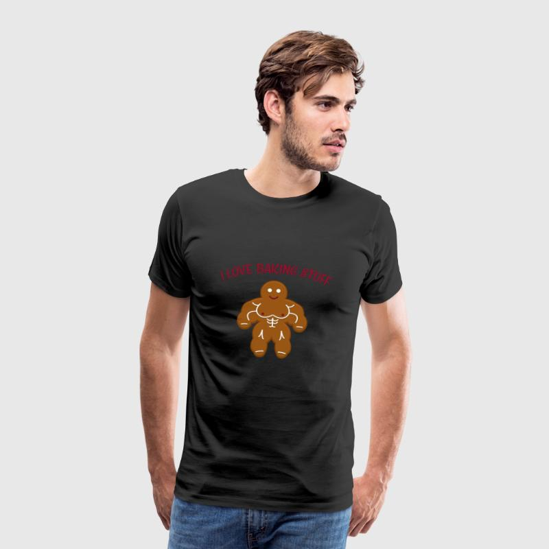 Funny Christmas Bakery Muscle Gingerbread Man Gift - Men's Premium T-Shirt