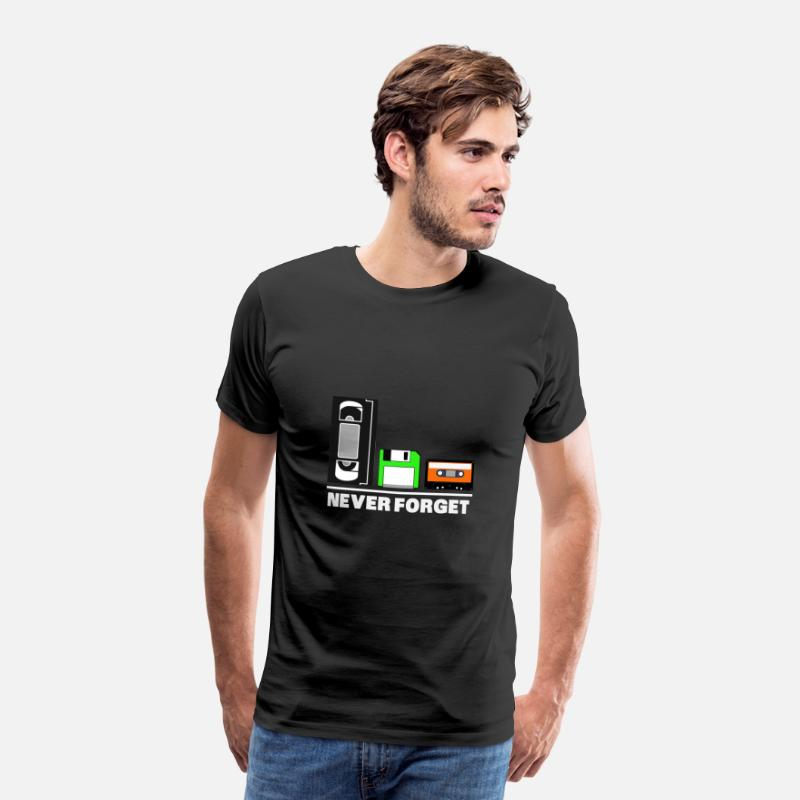 Computer T-Shirts - Never Forget Floppy Disk Retro Shirt 80s - Men's Premium T-Shirt black
